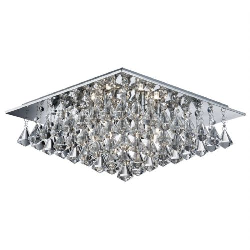 Hanna - 6 Light Square Flush Ceiling, Chrome, Clear Crystal Pyramid Drops 7306-6Cc